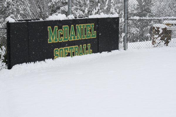 The Green Terror softball field during Monday's snowstorm.
