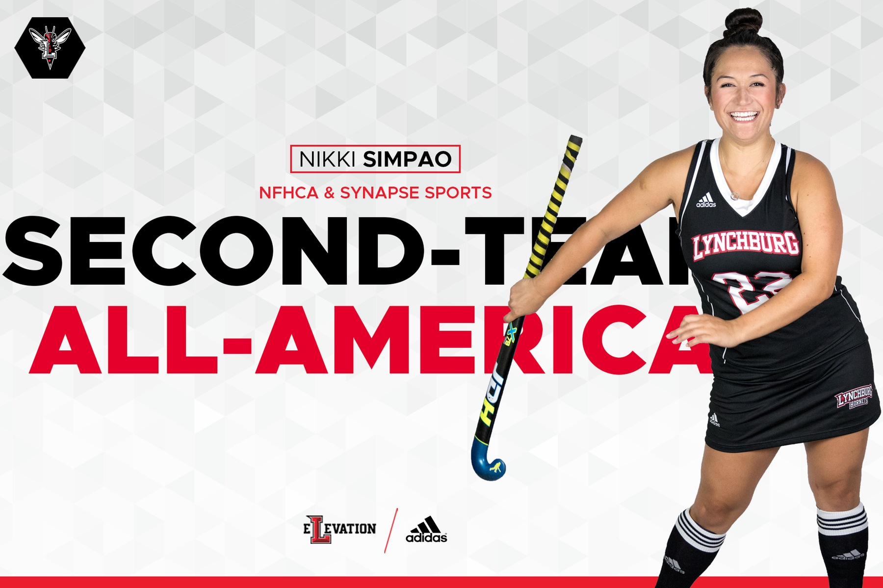 Nikki Simpao flossing with a field hockey stick on white background. Text: NFHCA & Synapse Sports Second-Team All-America