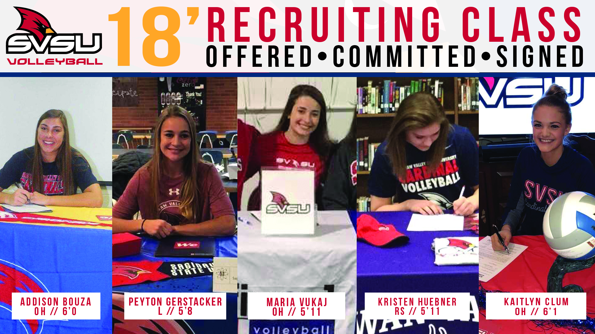 SVSU Volleyball Signs Five To 2018 Recruiting Class