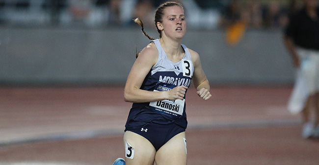 Carly Danoski '20 runs in the 800 meters at the 2018 NCAA Division III National Championships. Photo by D3photography.com