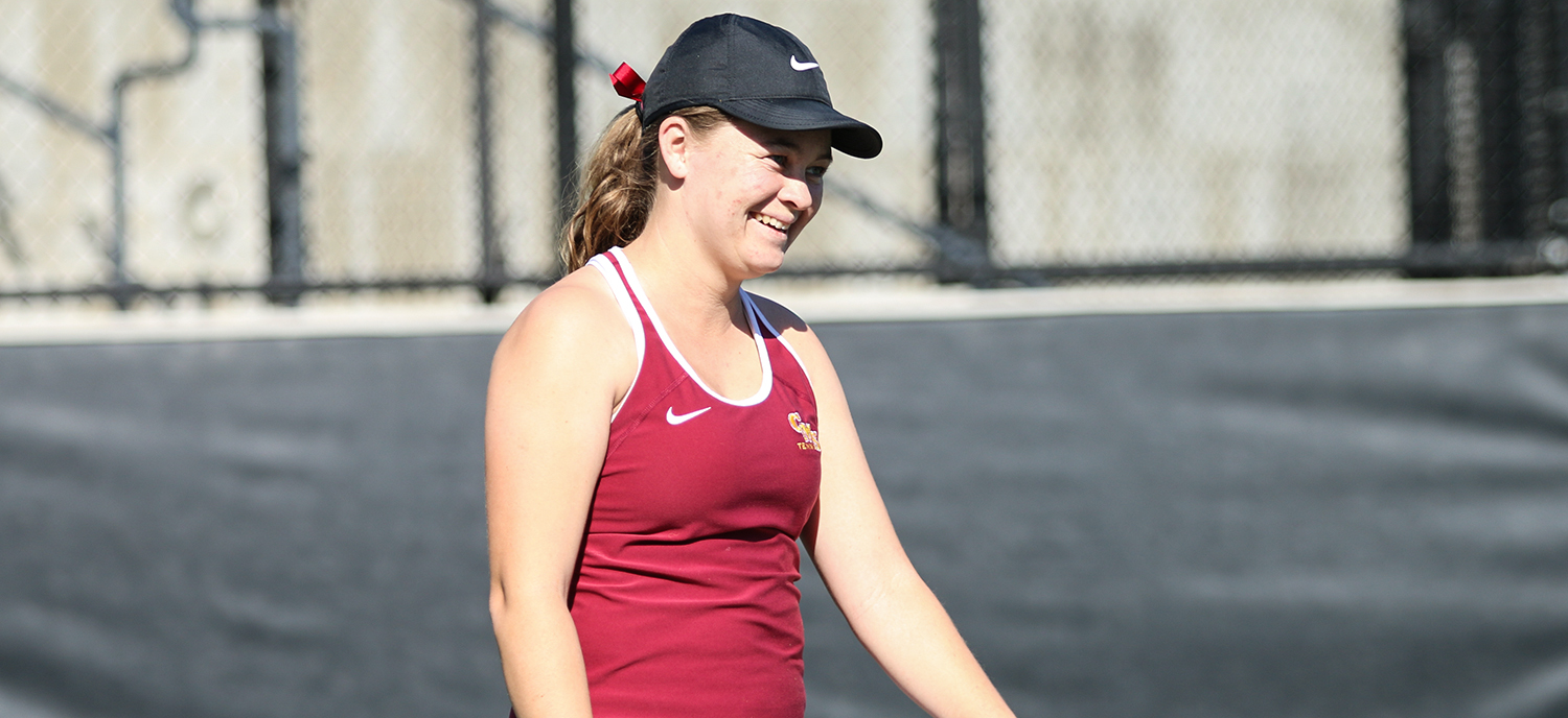 Lindsay Brown earned a 6-0, 6-1 victory at #3 singles vs. Trinity (TX) this morning.