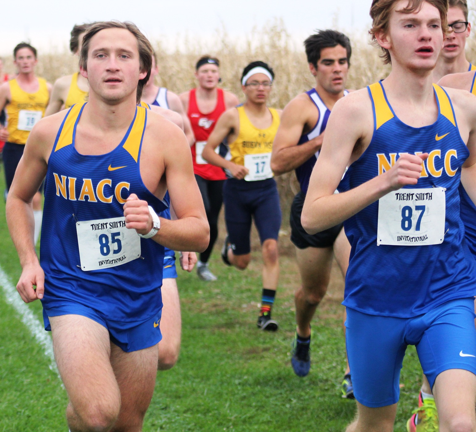NIACC's Daniel Hennigar (left) and Sam Pedelty compete at the Trent Smith Invitational on Oct. 12 on the NIACC campus.