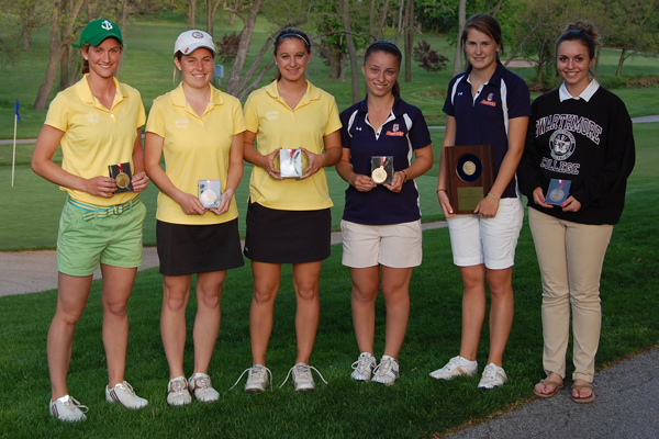 The 2012 All-Centennial Conference Team, including Katherine Restrepo, Alise McNutt and Morgan Koopman from McDaniel.