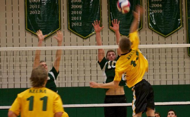 Junior Ryan Kelly had 16 assists, 3 kills and 3 blocks as the Keuka College men's volleyball team defeated the Sage Colleges in three sets Friday on day one of the inaugural Keuka College Invitational (photo courtesy of Taylor Smith, Keuka College Sports Information Department).