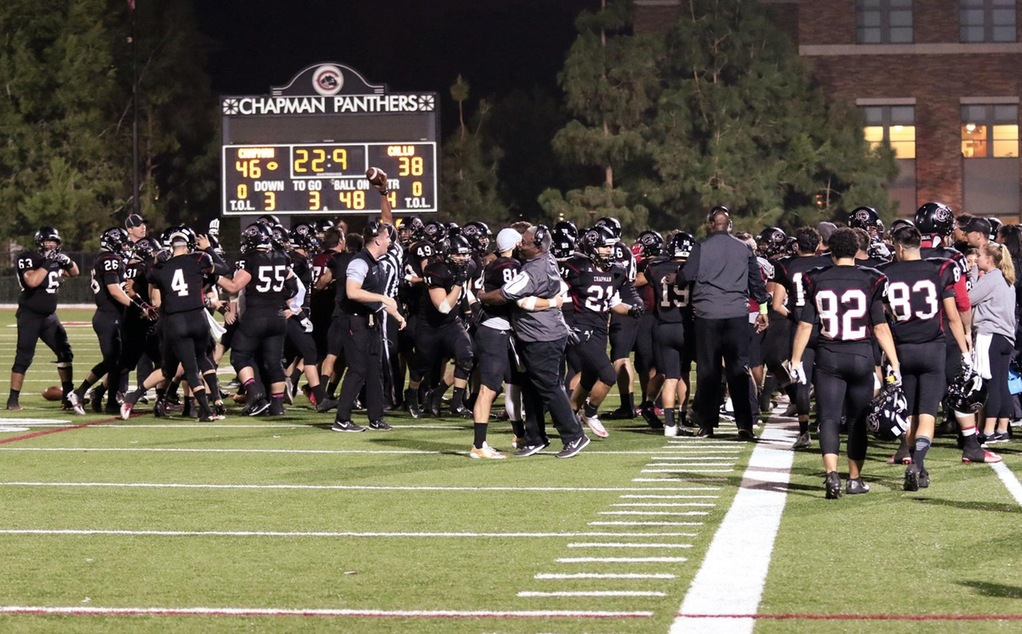 Football celebrates a SCIAC title (photo by Larry Newman)