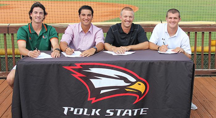 Brandon Gali, Joe Strzelecki, Cody Burgess, and Kaylor Kulina sign letters of intent to play baseball at four-year schools. (Photo by Denise James, Polk State.)