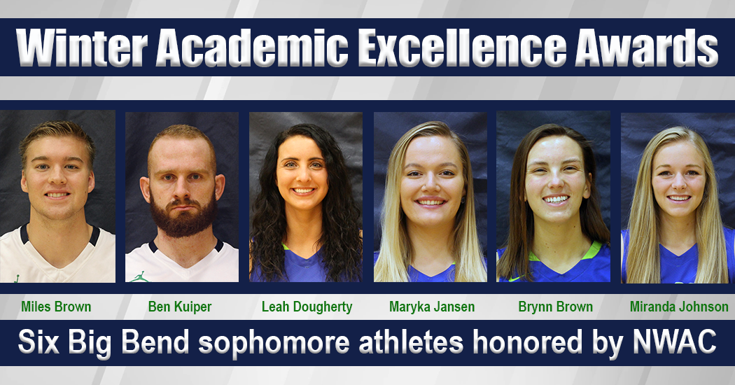 Photo of the six athletes you earned winter quarter All-Academic Excellence awards from the Northwest Athletic Conference.