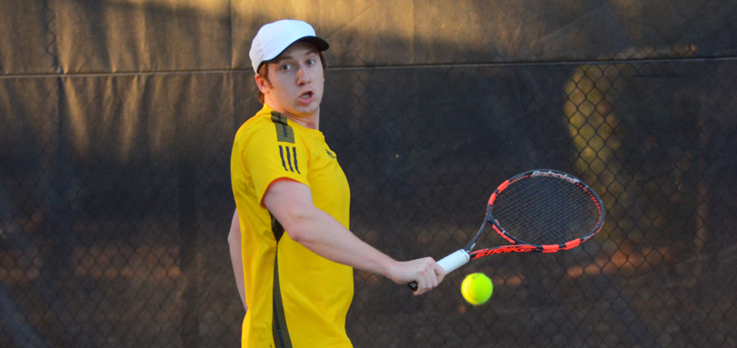 Junior Ben Binion only gave up one game across both singles and doubles against Muskingum