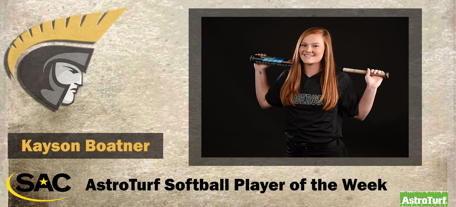 Boatner Earns South Atlantic Conference AstroTurf Softball Player of the Week