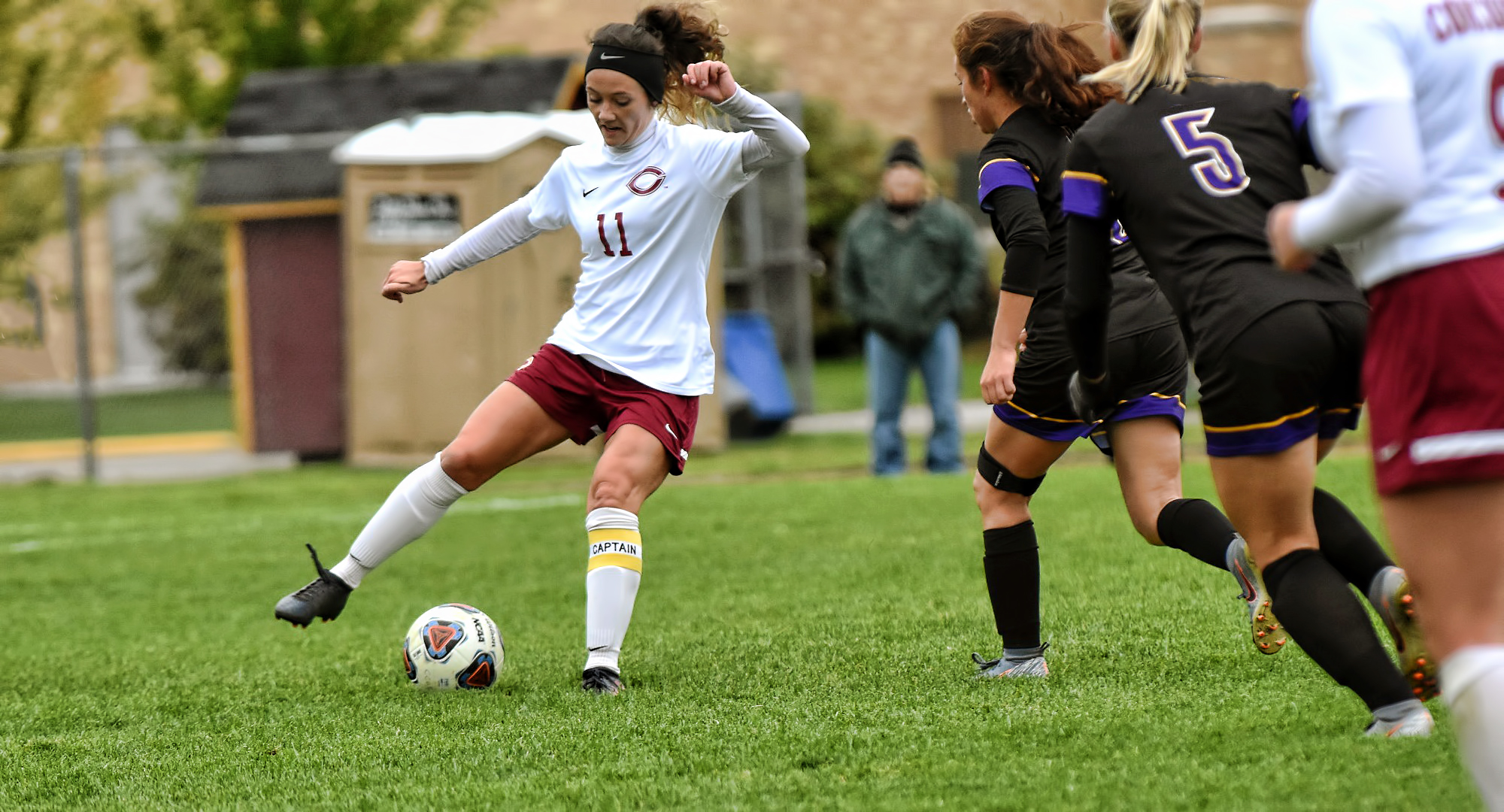 Senior Karsen Granning had a chance in the first in the Cobbers' game at St. Olaf as she played in her final college game.