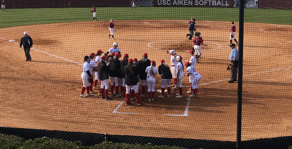 The Moccasins celebrate Makayla Deuberry's game one home run.