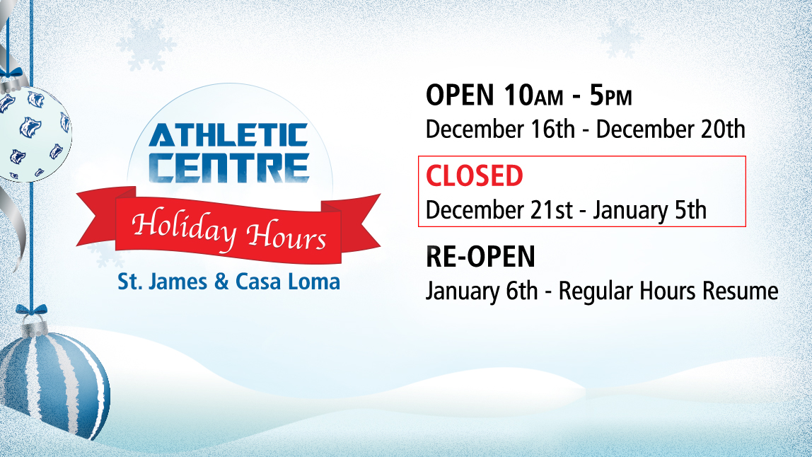 Athletic Centre holiday hours
