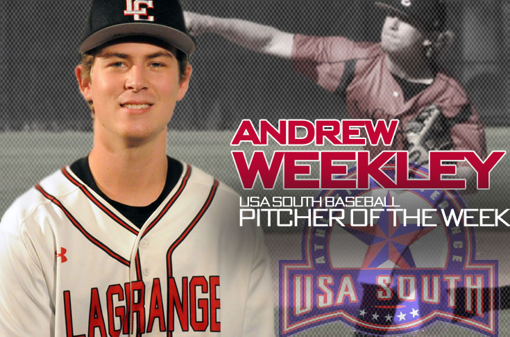 Baseball: Andrew Weekley named USA South Pitcher of the Week for week ending March 13