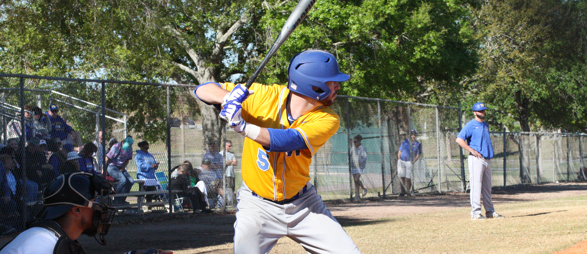 Senior Jared Rosenblatt went 4-for-5 with a walk, three RBI and five runs scored in Western New England's 22-7 win over Stockton in Winter Haven, Florida on Saturday.