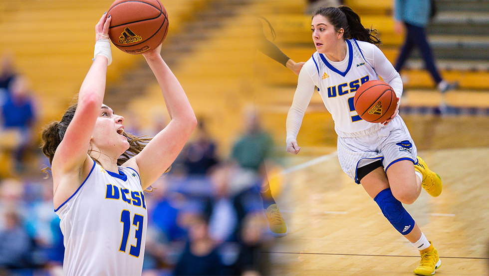 Drew Edelman (R) and Sarah Bates (L) earned Big West All-Conference honors, it was announced Monday. (Photo by Eric Isaacs)