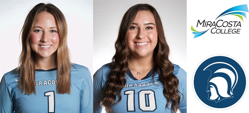 Halie Hess and Haley Torres, women's volleyball players.