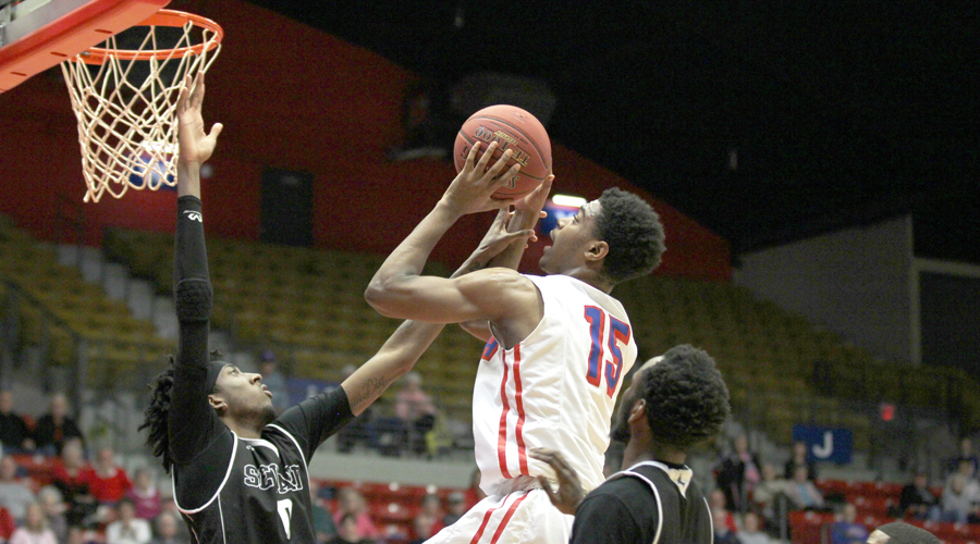 Rheaquone Taylor and the Blue Dragons came up just short of a monumental comeback on Saturday night in an 87-78 loss to Seward County at the Sports Arena. (Bre Rogers/Blue Dragon Sports Information)
