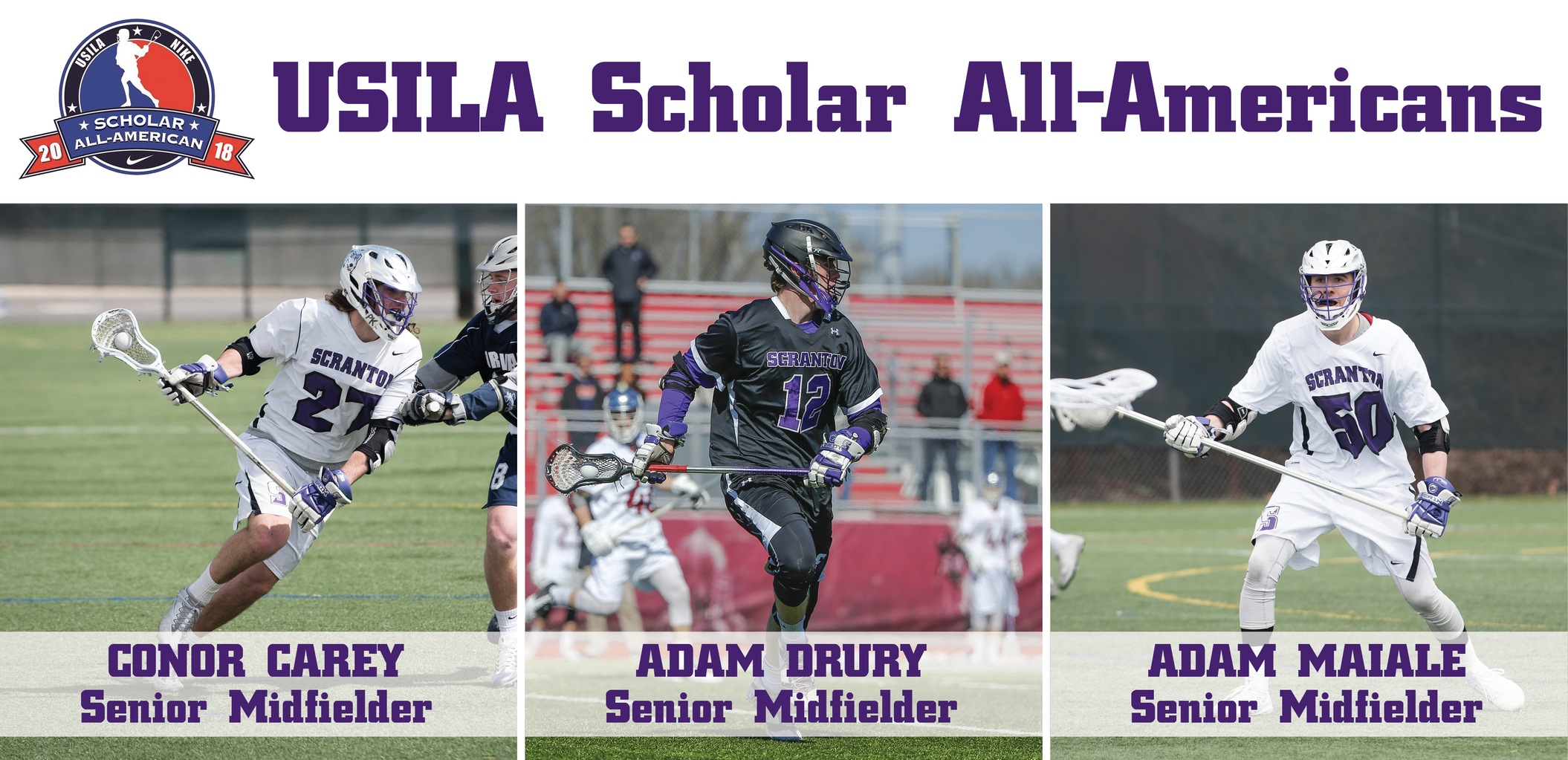 UPDATED: Carey, Drury, Maiale Named USILA Scholar All-Americans