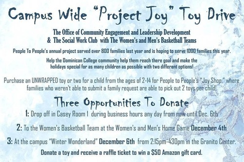 "WOMEN'S AND MEN'S BASKETBALL TEAM UP WITH CAMPUS WIDE ""PROJECT JOY"" TOY DRIVE"