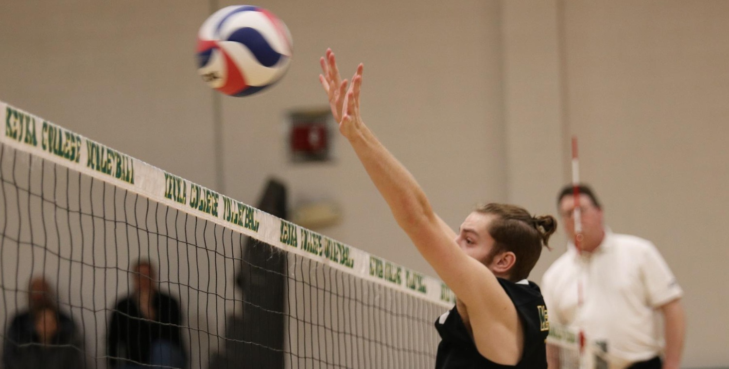 Christian Nickerson (1) combined for 9 blocks on the afternoon for Keuka College
