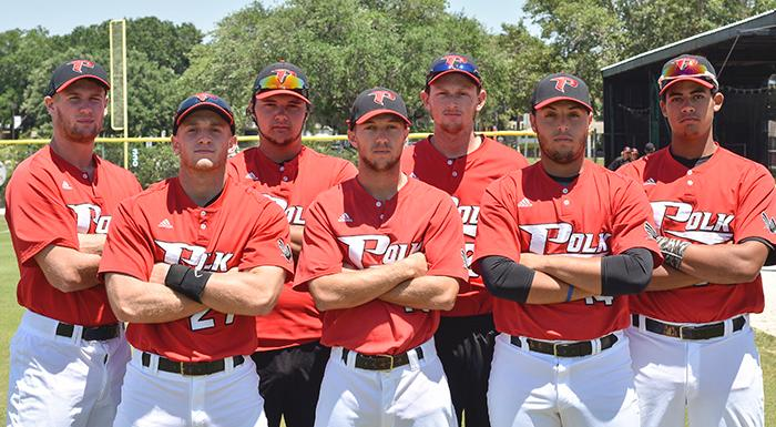 Zach Biermann, Zach Diewert, Ken Spivy, Cody Burgess, Justin Tworek, Jonathan Bermudez, and Isaiah Cullum earned 2016 Suncoast Conference honors. (Photo by Tom Hagerty, Polk State.)