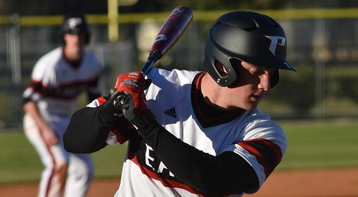 Zach Diewert homered, singled, walked, stole a base, drove in a run, and scored twice in a 6-4 loss to SCF. (Photo by Tom Hagerty, Polk State.)