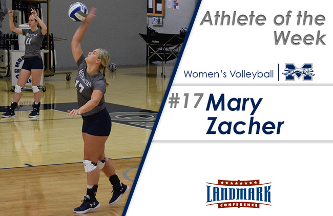 Mary Zacher '18 selected as Landmark Conference Women's Volleyball Athlete of the Week.