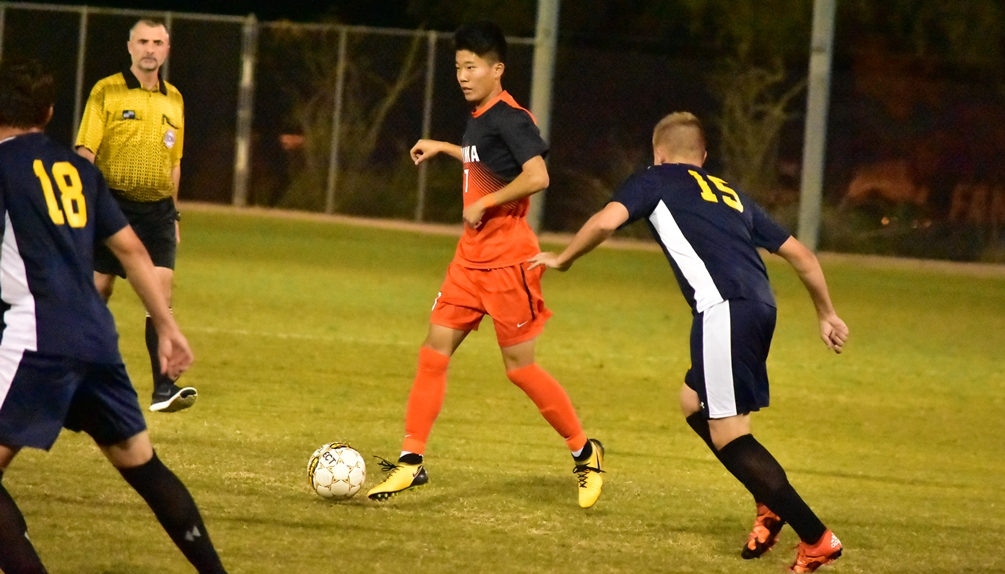 Freshman Daisuke Takanaka scored two goals for the Aztecs as they beat No. 1 seeded St. Louis Community College 3-1 to advance to the national semifinals on Friday. Photo by Ben Carbajal.