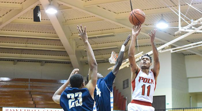 Troy Simons puts up a shot against Hillsborough. Simons had 20 points in Polk State's 66-50 win. (Photo by Tom Hagerty, Polk State.)