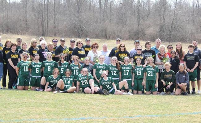 On Parents' and Senior Day, the Keuka College women's lacrosse team remained perfect in NEAC play with a 20-1 win over Wilson College (photo courtesy of Carly Volante, Keuka College Sports Information Department).