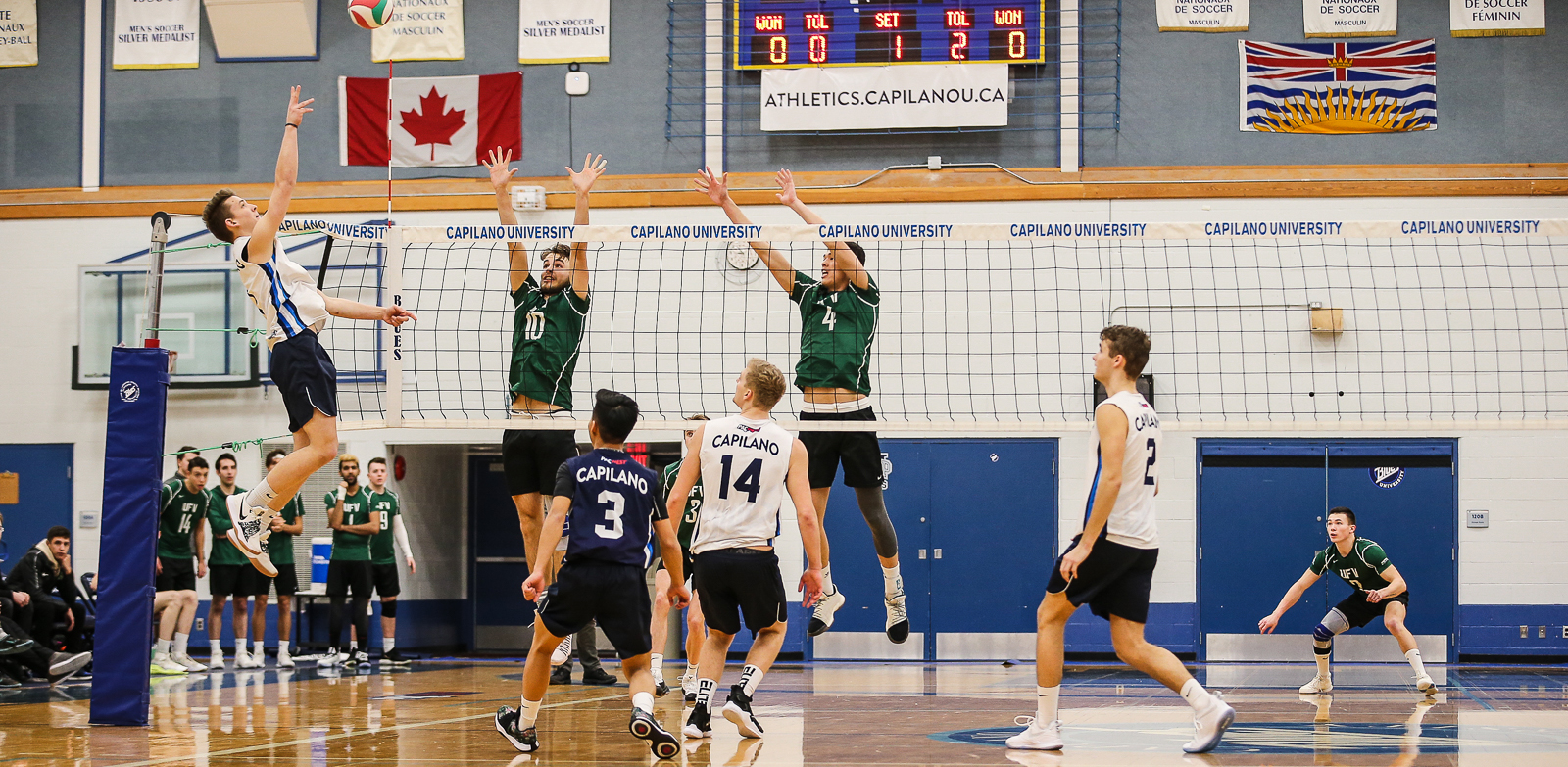 CapU first-year outside hitter Markus Bratsberg rises for an attack against UFV. Photo Paul Yates / Vancouver Sports Pictures