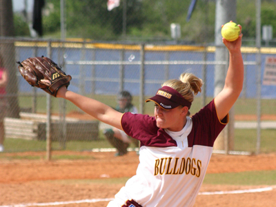 Senior Kayle Stevenson gave up five hits in seven innings as FSU posts 6-0 win over Shippensburg.  (Photo by Sandy Gholston)