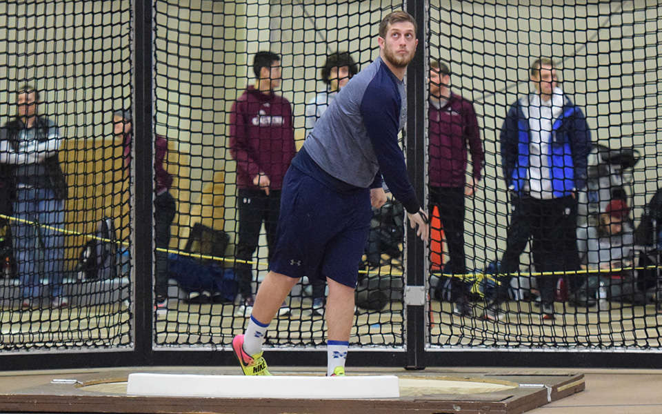 Shane Mastro warms up for the shot put during the Moravian Indoor Meet at Rauch Fieldhouse in January 2019.