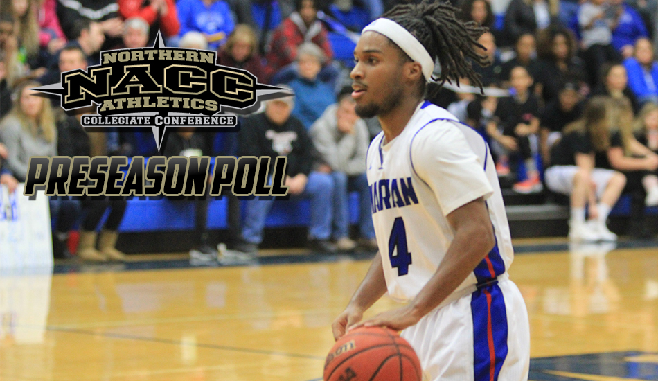 NACC men's basketball preseason poll graphic.