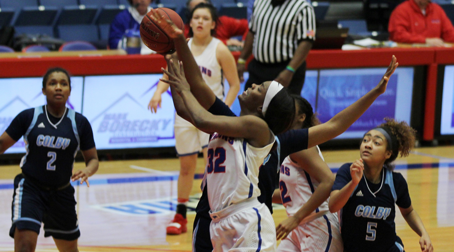 Jada Mickens scores a season-high 20 points to lead the No. 4 Blue Dragon women's basketball team to a 98-56 victory over Colby on Saturday at the Sports Arena. (Bre Rogers/Blue Dragon Sports Information)