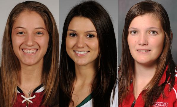 Jillian Dempsey, Harvard (l); Ailish Forfar, Dartmouth (c); & Carmen MacDonald, St. Lawrence (r)