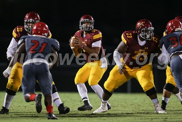 JCJC quarterback Chris Weaver (14) is protected by his offensive line as he drops back to pass last week vs. Mississippi Delta.  Photo:  jucoweekly.org