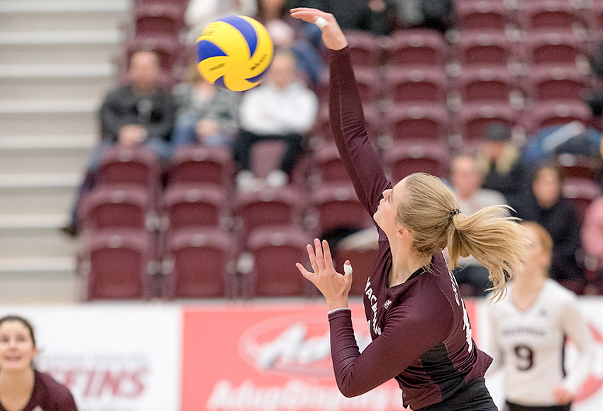 Cassidy Kinsella had a game-high 17 kills for the Griffins in a 3-1 loss at Calgary on Saturday night, moving her into second place on the Canada West career list (Chris Piggott photo).
