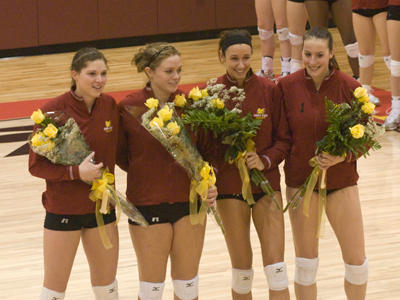 FSU seniors Sarah Lark, Amanda Kettlewell, Kristy Gilchrist and Katie Edwards were honored prior to Saturday's match.