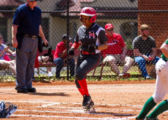 Sophomore Daisha Henderson was 5-for-7 with five runs and three stolen bases in the Lady Hawks' 6-1 and 9-0 sweep of Mary Baldwin College on Sunday. (Photo by Christopher Morgan)