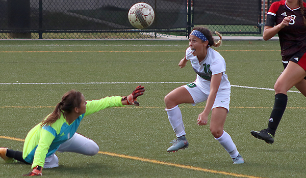 Copyright 2017; Wilmington University. All rights reserved. Photo of Loran Wyrough about to be fouled in the box, leading to her third goal against Dominican, taken by Brett Heath.
