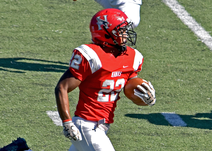 Kobe Smith scored on an 83-yard run in the final minutes to help Huntingdon beat Brevard 21-10 on Saturday.