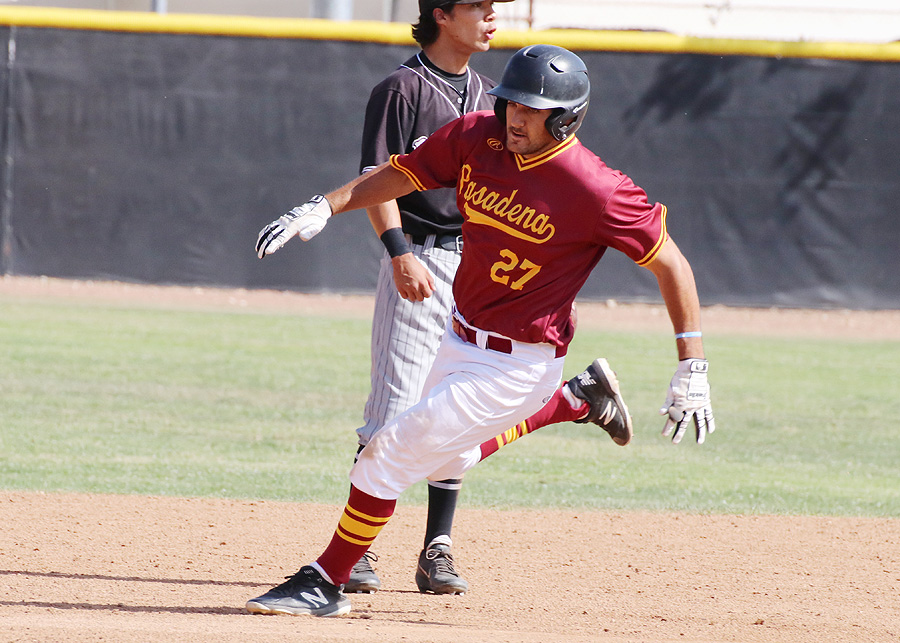 Jason Ajamian is on the basepaths against Rio Hondo in the regular season finale Friday. The first baseman twice had clutch RBI hits to help PCC win the final two games, photo by Richard Quinton.