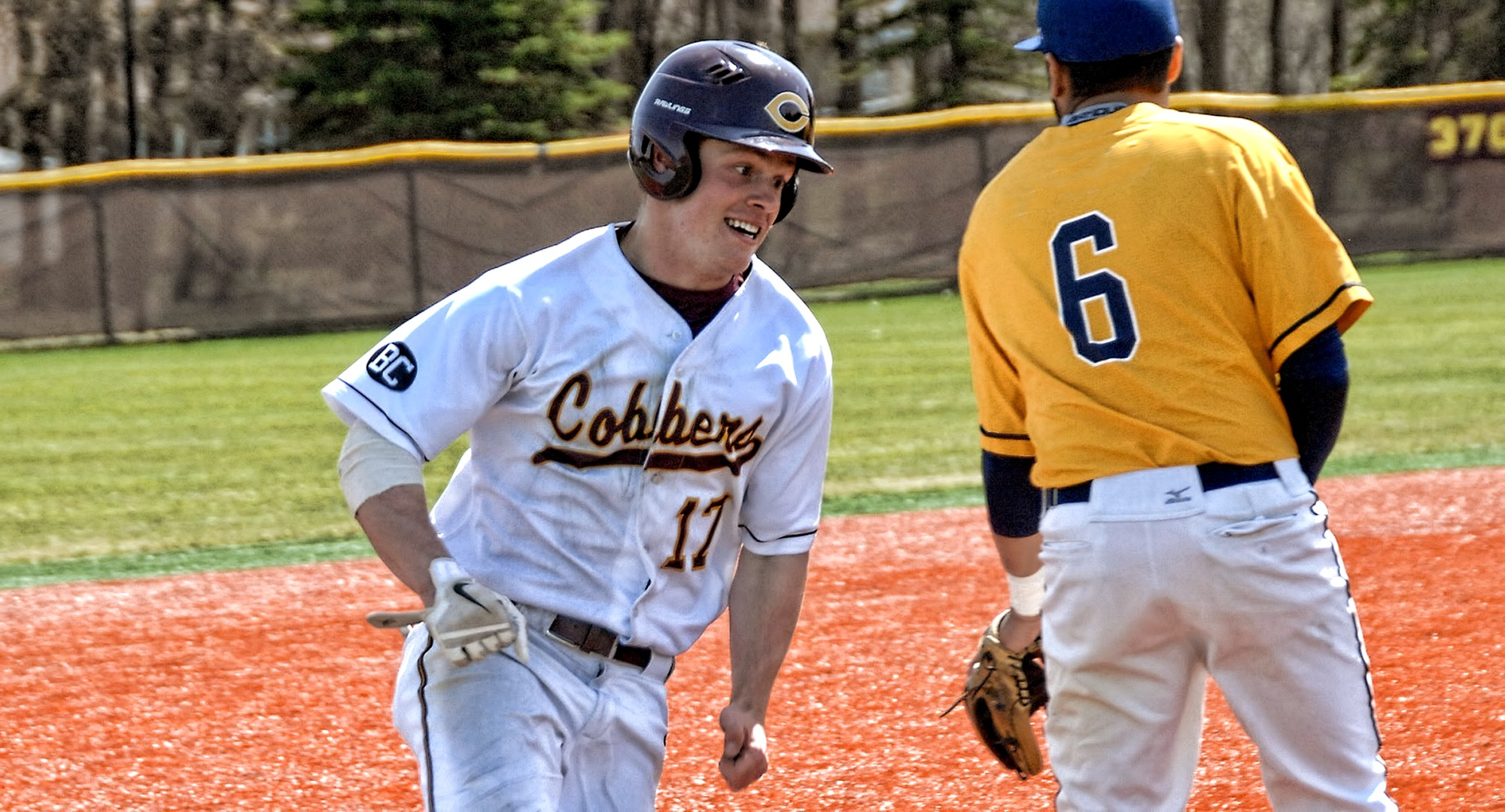 Sophomore Andy Gravdahl had a rare inside-the-park home run in the Cobbers' first of two win on Thursday. He also drove in the game-winning run in CC's 5-1 win over Gwynedd Mercy.