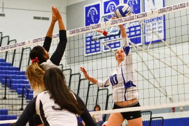 File Photo: Valerie Montoya posted five kills in the Falcons loss to El Camino