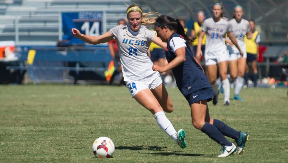 Mallory Hromatko's seventh goal of the season came in the 87th minute and helped UCSB to a 2-1 win at UC Davis on Sunday afternoon. (Photo by Tony Mastres)