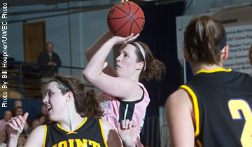 Mesick Reaches 1,000 Points as Blugolds Fall in Season Opener
