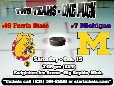 #19 Ferris State Hockey Hosts #7 Michigan This Saturday night