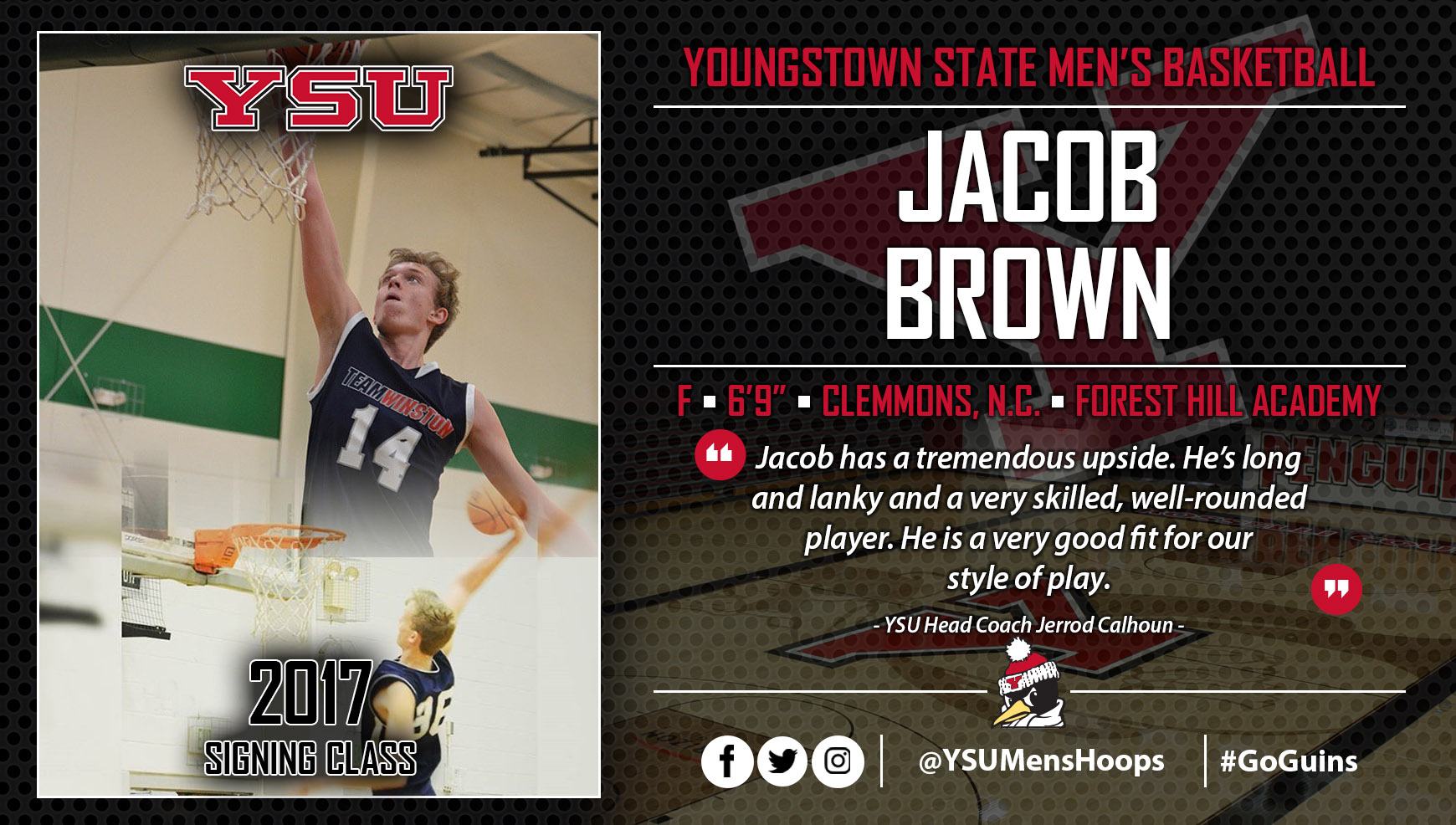 Youngstown State Men's Basketball Signs Jacob Brown to NLI