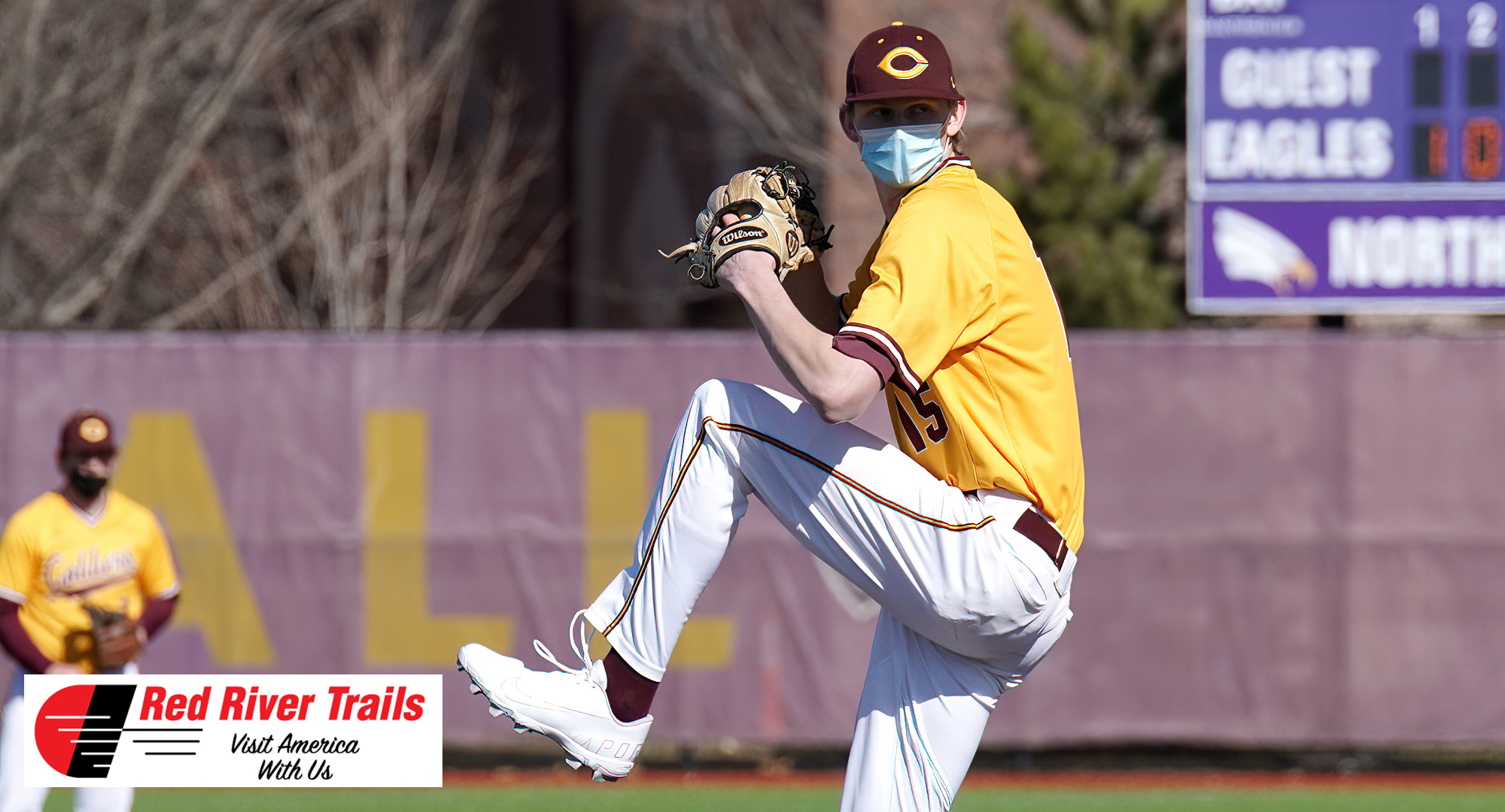 Senior Ty Syverson gets ready to deliver a pitch in the Cobbers' 10-2 win over Crown in Game 1. Syverson struck out nine for his second straight start and leads the MIAC in Ks. (Pic courtesy of Crown Sports Information).
